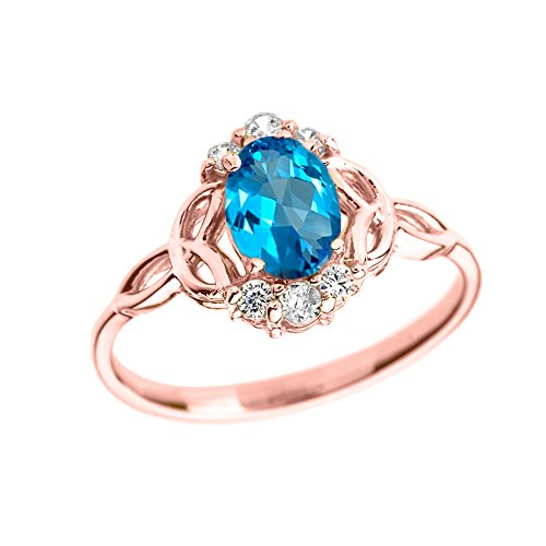 Elegant 14k Rose Gold Diamond Trinity Knot Proposal Ring with Genuine Blue Topaz (Size 12) by Modern Contemporary Rings