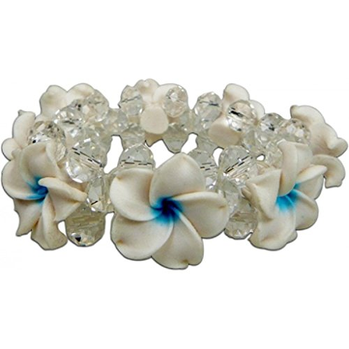 White-Blue Plumeria Fimo Flower Bling Hawaiian Bracelet (Hawaiian Fimo Flower)