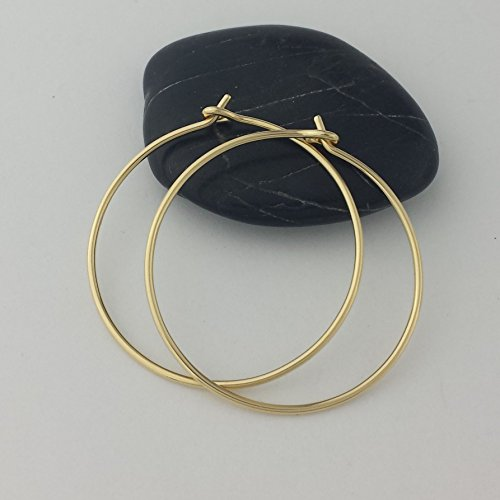Thick Solid 14k Gold Hoops 18 gauge (1mm wire) ()