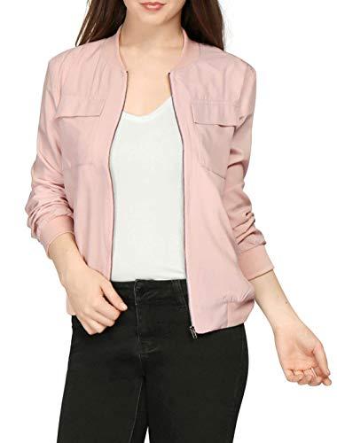Colores Cremallera Elegantes Largo con Chaquetas Vintage Otoño Sólidos Casual Mujer Fiesta Chaquetas Bomber Coat Abrigos Primavera Fit Bolsillos Pink Slim Outerwear Manga Moda PTgE6w6q