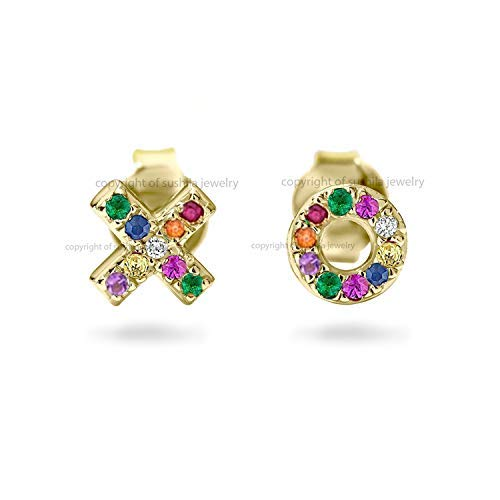 (Genuine Rainbow Multi Sapphire Diamond X O Studs Earrings in Solid 14k Yellow Gold Handmade Minimalist Wedding Jewelry)