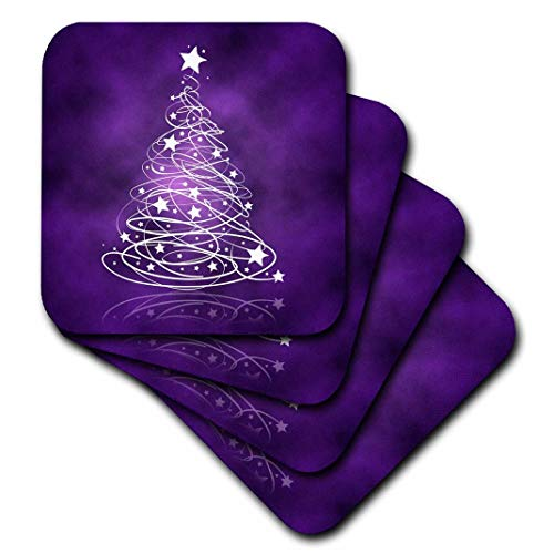 3dRose Sparkling Christmas Tree on Purple - Ceramic Tile Coasters, Set of 4 (CST_128256_3)