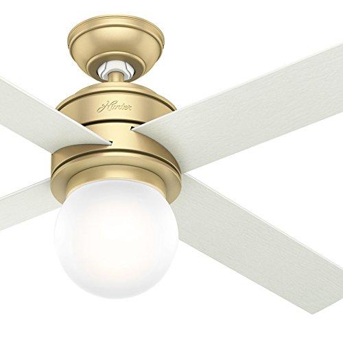 Hunter Fan 52 in. Modern Brass Ceiling Fan with LED Globe Light Kit – Wall Control Included Renewed