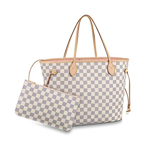 Women's Classic Canvas Neverfull Top-Handle Tote Bag Large Capacity Haute Couture Shoulder Bag (GM 40CM, Damier Azure Inside Pink)