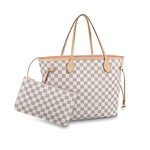(Women's Classic Canvas Neverfull Top-Handle Tote Bag Large Capacity Haute Couture Shoulder Bag (GM 40CM, Damier Azure Inside)