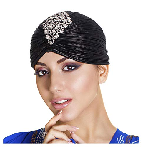 L'vow Women Vintage Turban Beanie Hat Headwrap with Crystal Brooch for 1920s Cocktail Party(Black)