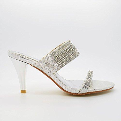 London Footwear Blair, Women's Diamante High Heels Sandals Silver
