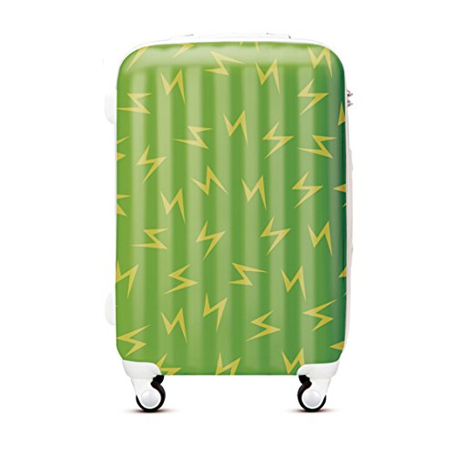 14'' 18'' 20'' Green Colored Lightning Print Carry on Rolling Travel Luggage on Wheels (14'')
