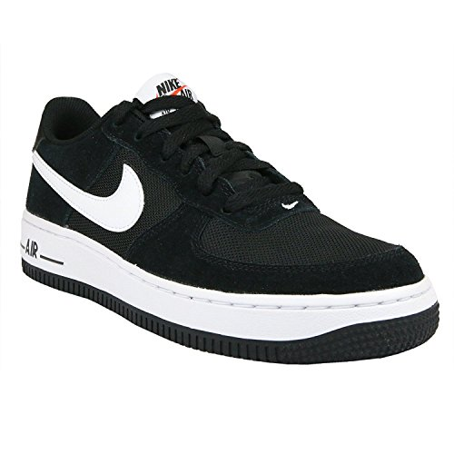 NIKE Kids Air Force 1 (GS) Athletic Sneakers Black/White 596728-026 (4Y)