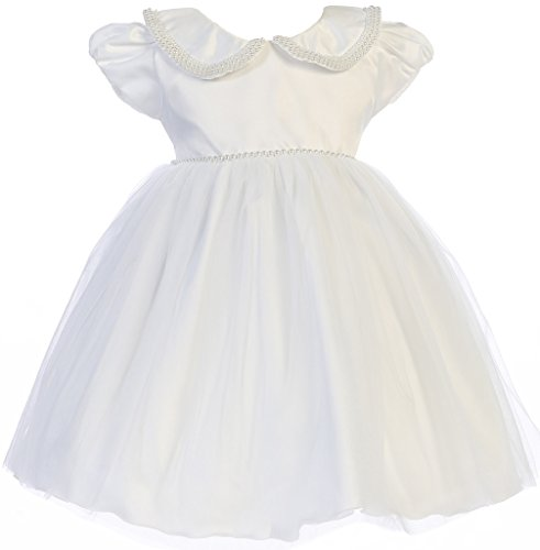 Price comparison product image BNY Corner Satin Flower Girl Dress with Pearl Detail Collar White XXL JK 2738