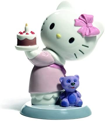 NAO Happy Birthday . Porcelain Hello Kitty Figure.