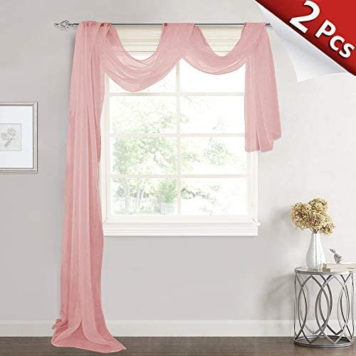 RYB HOME Long Sheer Valances Scarfs Decor – Dreamy Voile Tiers Window Treatment Panels for Wedding Baby Shower Canopy Bed Kids Room Decor, 60 x 216 in per Panel, 1 Pair, Pink