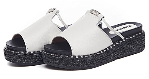 Diamantes Punta blanco con Sandalias Cuero Yooeen Verano Cuña Moda Zuecos Zapatillas de 1 Chanclas Plataforma Abierta Mujer Sandalias 8qRc41P