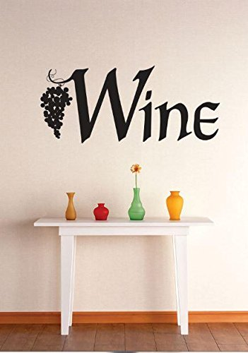 Top Selling Decals - Prices Reduced : Vinyl Wall Sticker : Wine Grapevine Kitchen Dining Image Quote Bedroom Bathroom Living Room Picture Art Peel & Stick Mural Size: 12 Inches - Images Grapevine