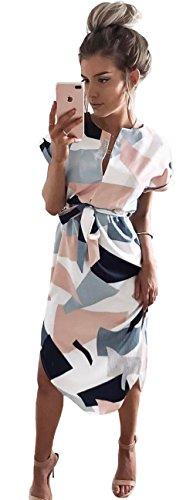 Longwu Women's Sexy V Neck Casual Club Maxi Dresses Wrap Summer Long Party Dress White-XL