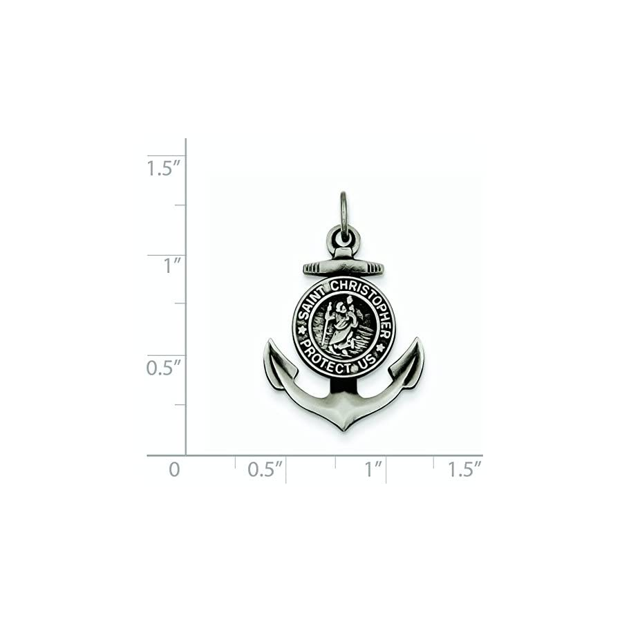 Jewelry Stores Network Saint Christopher Anchor Medal Charm Protect Us in 925 Sterling Silver 27x20mm