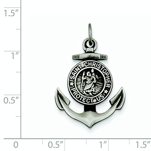 Saint Christopher Anchor Medal Charm Protect Us in 925 Sterling Silver 27x20mm