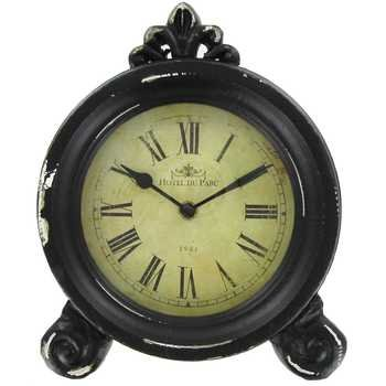 Black Rubbed Round Wood Table Clock