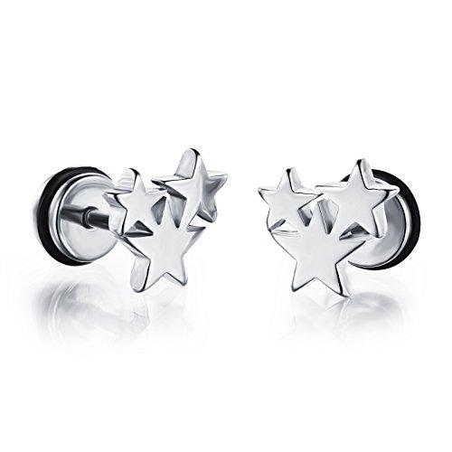 (LOHOME Unisex Titanium Steel Stereoscopic Stars Plug Stud Earrings for Womens Mens)