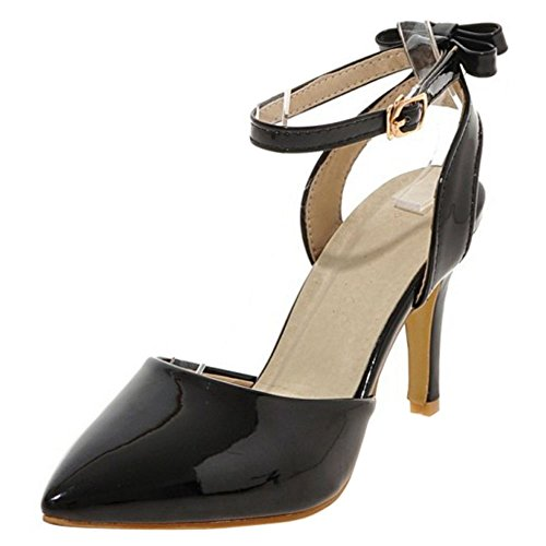 COOLCEPT Women Fashion Ankle Strap Sandals Stiletto Closed Toe Slingback Shoes With Bow Size Black HBQpbYs
