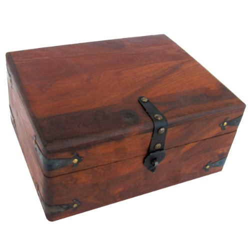 Antique Style Wood Writing Travel Document Case Inkwell Storage Box