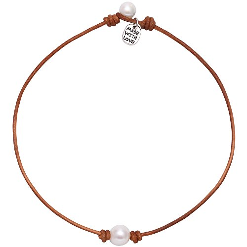 (Single Cultured Freshwater Pearl Choker Necklace Handmade Genuine Leather One Bead Jewelry for Women Girls 14'' Light)
