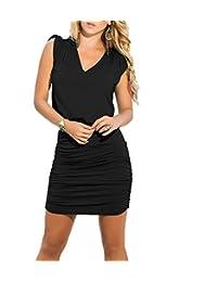 Women Slim Sexy Sleeveless Stretch Ruched Bodycone Mini Party Dress