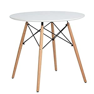 Kitchen Dining Table White Round Coffee Table Modern Leisure Wooden Tea Table Office Conference Pedestal Desk 41BNhkREGyL