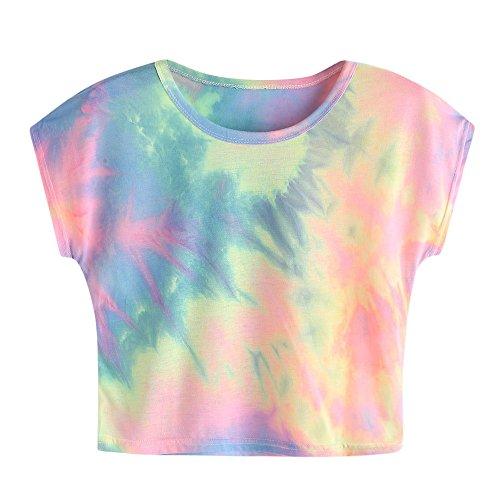 (Aniywn Crop Vest, Women's Summer Short Sleeve Tie-Dye Print Tank Top Teens Short Shirt)