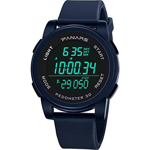 (Fashion Waterproof Running Step Counter Men's Sports Electronic Watch Digital Watch Fashion GIF Men's Watch Outdoor Sport,B)