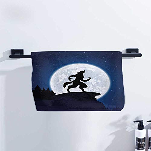 Wolf Athletic Towel Full Moon Night Sky Growling Werewolf Mythical Creature in Woods Halloween Ultra Absorbent W27 x L14 Dark Blue Black White for $<!--$15.57-->