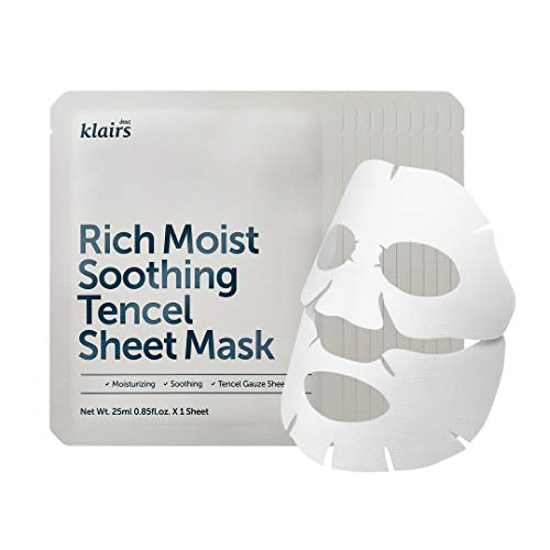 Rich Moist Soothing Tencel Sheet Mask 25ml 10 sheets, Mask full of moisturizing nutrients