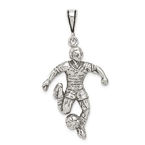 (Jewelry Pendants & Charms Themed Charms Sterling Silver Antiqued Soccer Player Charm)