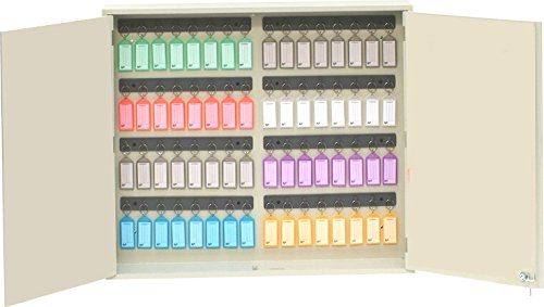 (Acrimet Key Cabinet Organizer 64 Positions with Lock (Wall Mount) (64 Multicolored Tags Included) (Beige Cabinet))