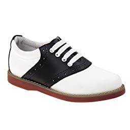 Academie Gear Cheer Saddle Shoe (Toddler/Little Kid/Big Kid),White/Black,3 M US Little Kid