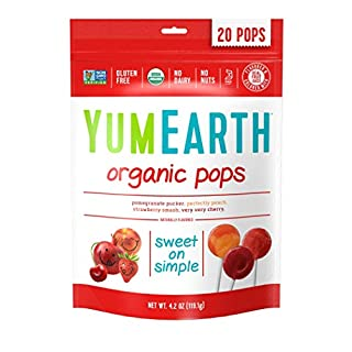 YumEarth Organic Lollipops, Assorted Flavors, 4.2 Ounce, 20 Lollipops