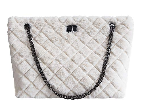 QZUnique Women's Rhombus Pattern Large Capacity Faux Fur Shoulder Handbag Chain Tote Bag Crossbody Purse White