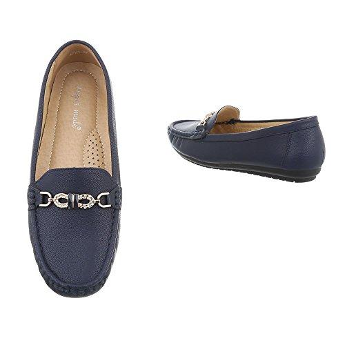 Ital-Design Chaussures Femme Mocassins Plat Mocassins Bleu Pointure 37