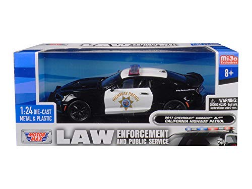 2017 Chevrolet Camaro ZL1 California Highway Patrol (CHP) Black and White Law Enforcement and Public Service Series 1/24 Diecast Model Car by Motormax 76967