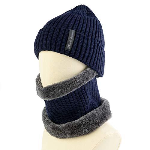 Winter Beanie Hat Scarf Set Warm Knit Hat Thick Fleece Wool Knit Hat & for Men Women(2-in-1)