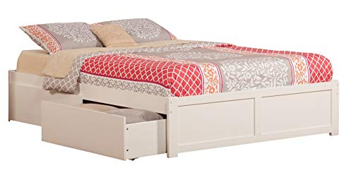 Atlantic Furniture AR8042112 Concord Platform 2 Urban Bed Drawers, Queen, White