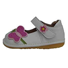 HappyKidShoes White Toddler Shoes Infant Girls Leather Squeaky Shoes with Pink Butterfly UK Sizes 3 to 8 F Fitting