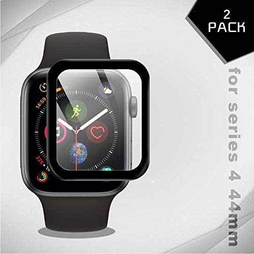 Aribest Screen Protector for Apple Watch Series 4 44mm,[2-Pack] 3D Full Coverage iWatch Series 4 44mm Tempered Glass,HD Clear,Bubble-Free,Tempered Glass Protective Film for Apple Watch Series 4 44mm