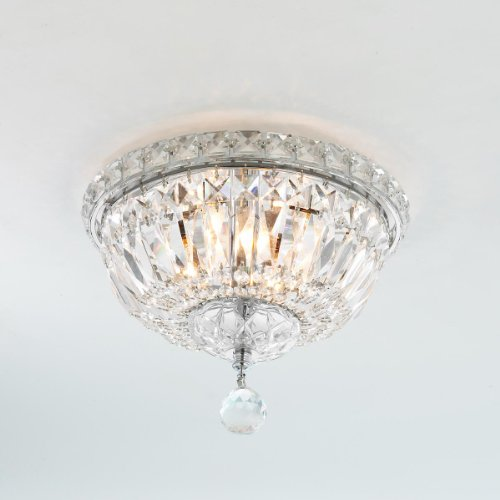 Worldwide Lighting Empire Collection 4 Light Chrome Finish and Clear Crystal Flush Mount Ceiling Light 10