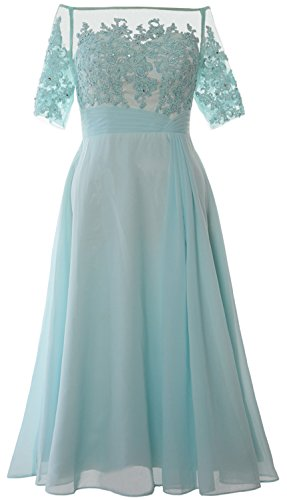 MACloth Women Off Shoulder Mother of Bride Dress Tea Length Formal Evening Gown Aqua