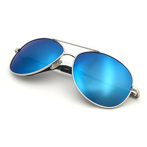 J+S Premium Military Style Classic Aviator Sunglasses, Polarized, 100% UV Protection (Large Frame - Silver Frame/Blue Mirror ()