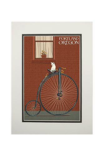 (Portland, Oregon - Bicycle and Cat Letterpress (11x14 Double-Matted Art Print, Wall Decor Ready to Frame))