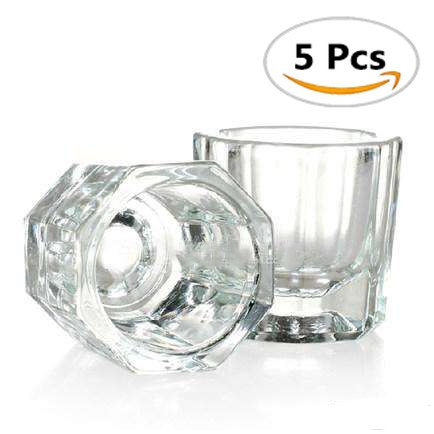 OPCC 5 pcs Nail Art Acrylic Liquid Powder Dappen Dish Glass Crystal Cup Glassware Tools