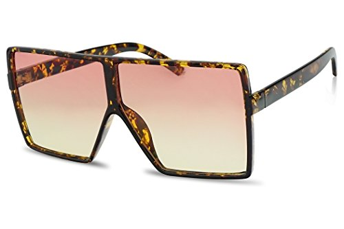 SunglassUP Oversize Square Flat Top Shield Sunglasses Colorful Two Tone Flat Lens Shades (Tortoise Frame | Orange Yellow)