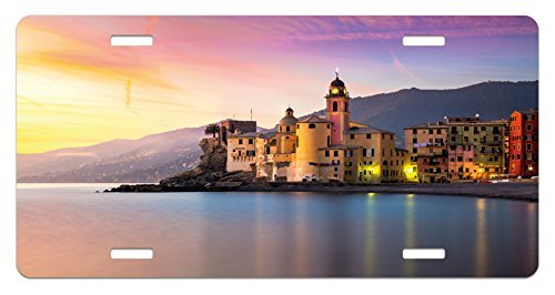 zaeshe3536658 Cityscape License Plate, Old Mediterranean Town Camogli of Italy at Sunrise Colorful Scenic Landscape, High Gloss Aluminum Novelty Plate, 6 X 12 Inches.